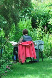 Fran painting by the pond